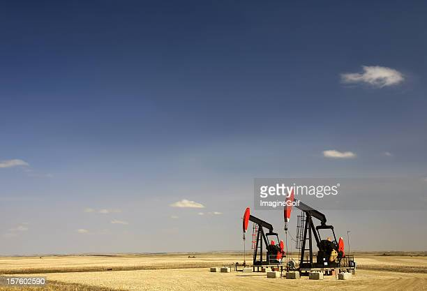 Two Red Pumpjacks in North Dakota Oil Field
