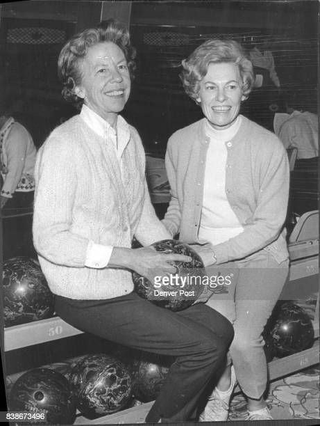 Two regulars of the Denver Country Club's weekly bowling league are from left Mrs Samuel B Childs and Mrs Davis W Moore Credit Denver Post