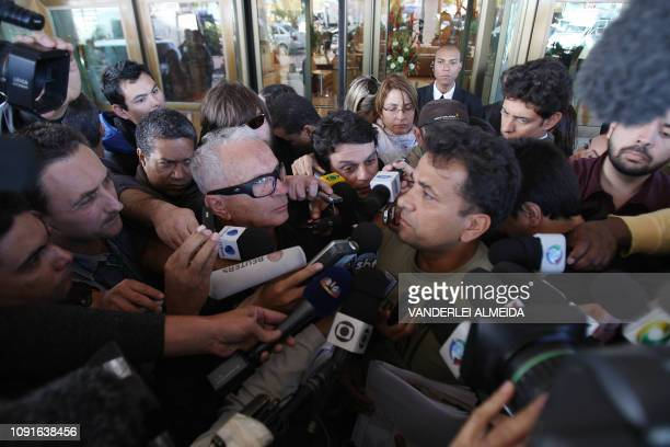 Two relatives of passengers of illfated Air France flight 447 are surrounded by journalists at the hotel where they are being looked after close to...