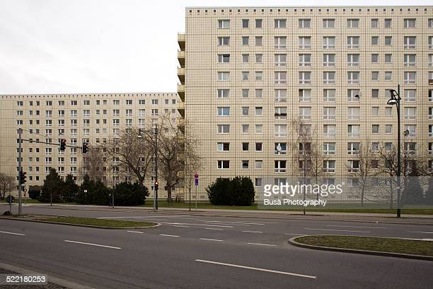 Two renovated Plattenbau buildings in East Berlin