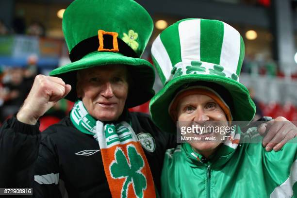 Two Republic of Ireland fans enjoy the pre match atmosphere prior to the FIFA 2018 World Cup Qualifier PlayOff First Leg between Denmark and Republic...
