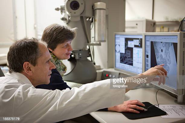 two researcher discuss results on monitor from an electronic microscope