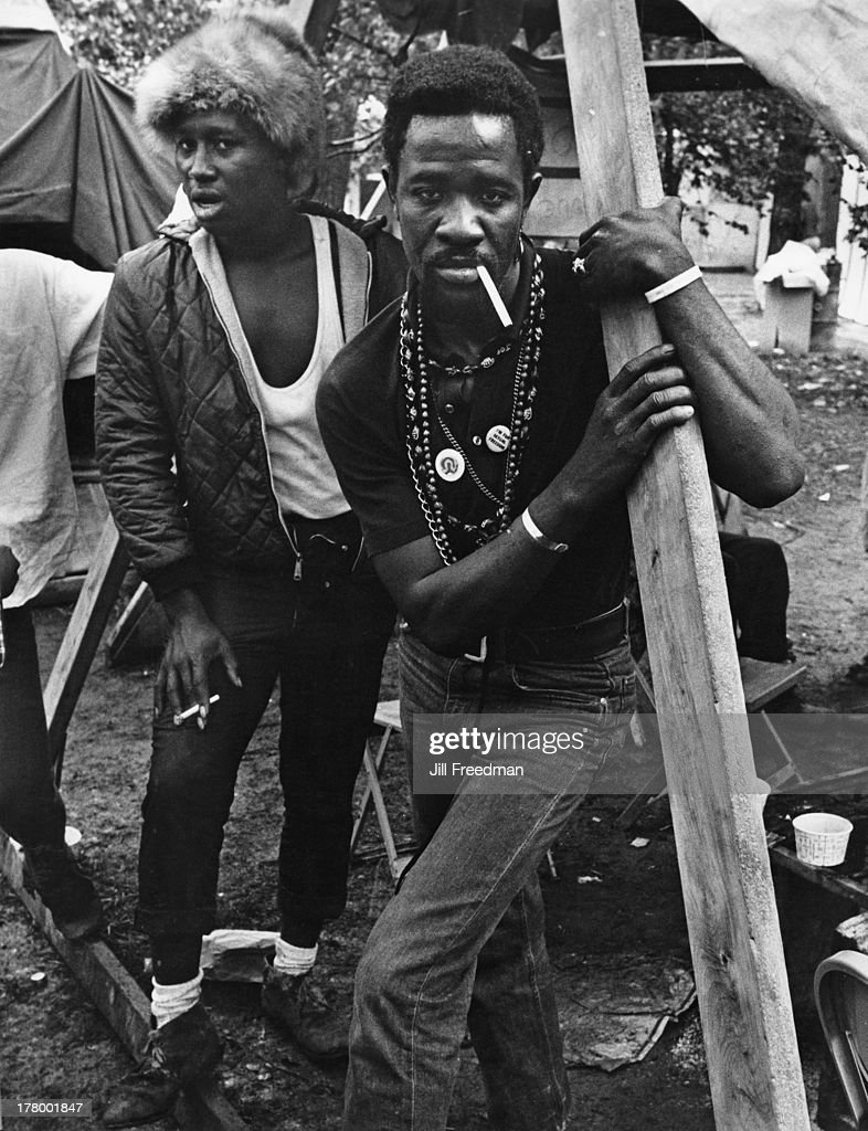 Two residents of Resurrection City, a three thousand person tent city on the Washington Mall set up as part of the Poor People's Campaign protest, Washington DC, May 1968.