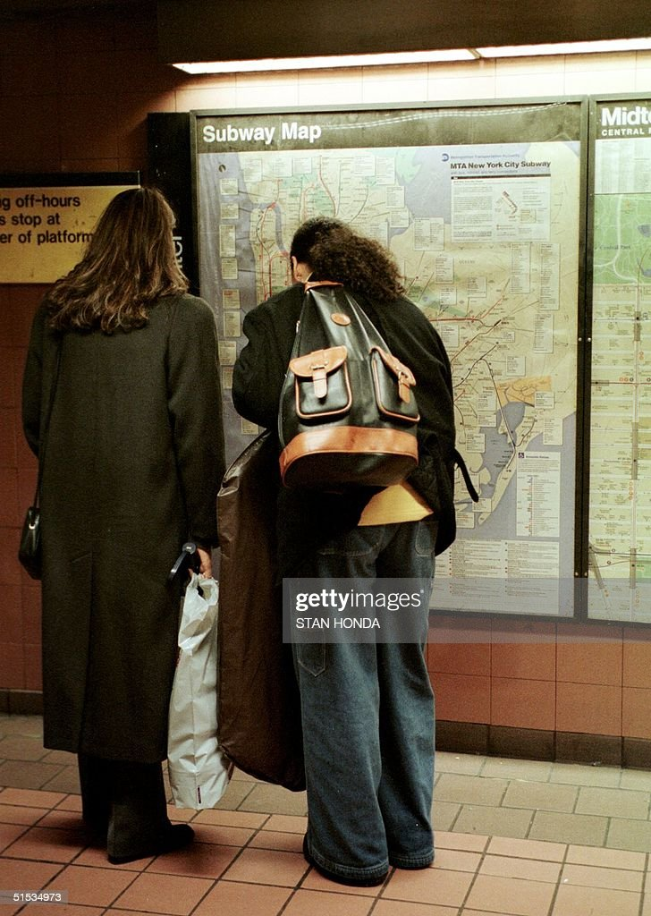 New York City Subway Map December 1999.Two Riders Look At A Map Of The Subway System 14 December 1999 At