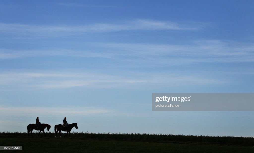 Two riders roam under blue skies near Tuerkenfeld, Germany, 15 April 2015.  Photo - Riding Under Blue Skies Pictures Getty Images