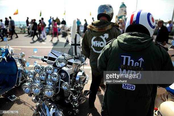 Two riders wearing parkas during the Brighton Mod weekender on August 24 2014 in Brighton England This August Bank holiday will see many Mods and...