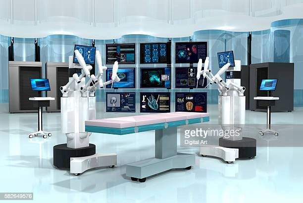 Two Robotic Surgeons With 9 Screens