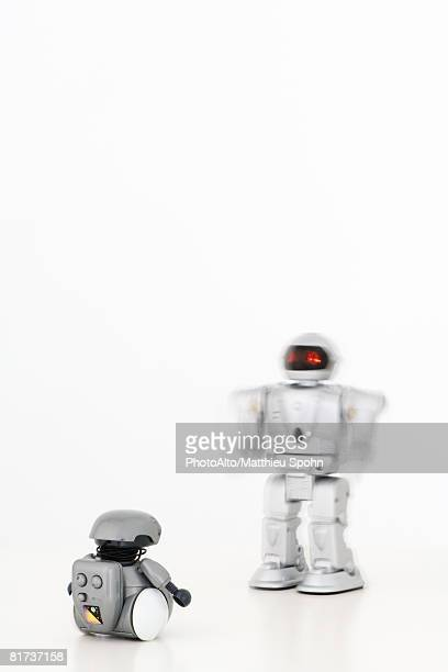 Two robots approaching each other