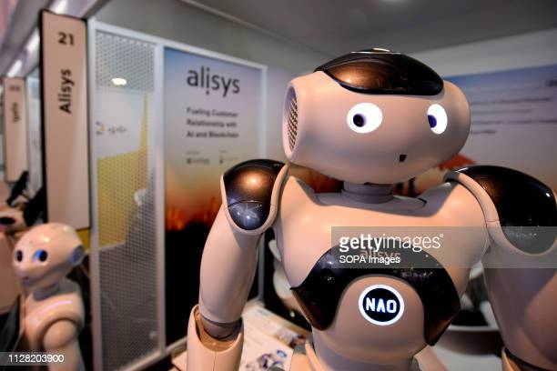 L´HOSPITALET CATALONIA SPAIN Two robots of the Alisys brand seen during the Mobile World Congress 2019 in Barcelona