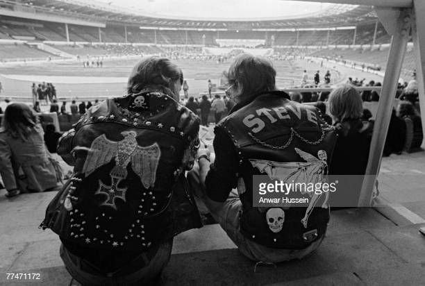 Two rockers attend the London Rock 'n' Roll Revival at Wembley Stadium 5th August 1972