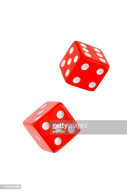 Two rolling red dices for games