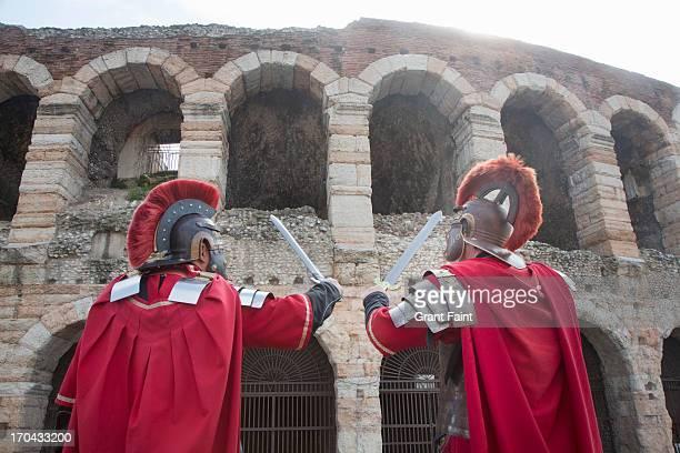two  romans at coliseum - ancient civilization stock pictures, royalty-free photos & images