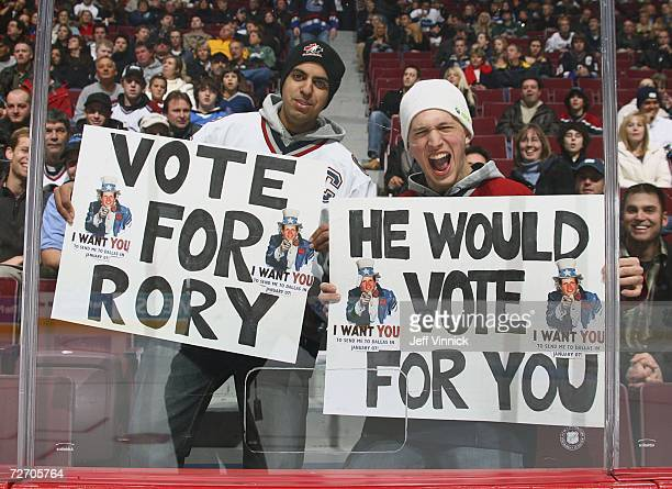 Two Rory Fitzpatrick fans show their support for the Vancouver Canuck defenseman prior to the Canuck game against the Colorado Avalanche at General...