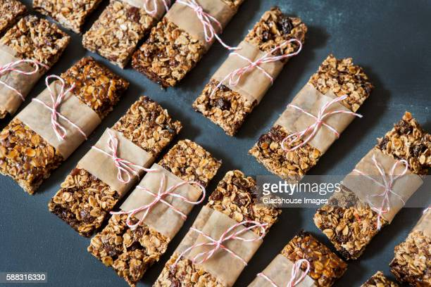 Two Rows of Homemade Granola Bar Tied with Twine