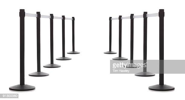 two rows of security barriers - cordon boundary stock pictures, royalty-free photos & images