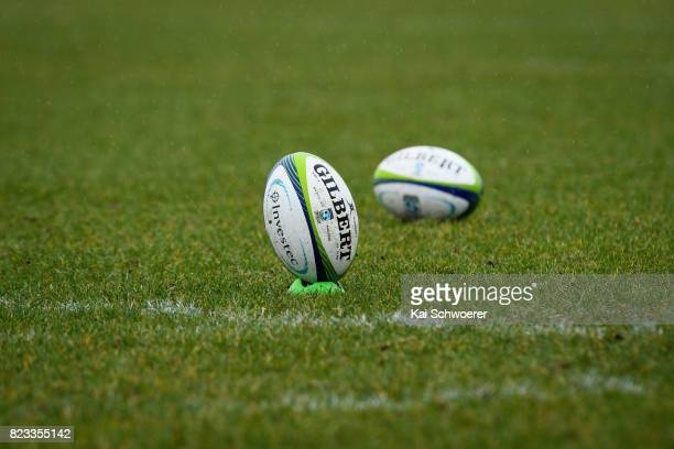 Two Rugby balls are seen during a Crusaders Super Rugby training session at Rugby Park on July 27 2017 in Christchurch New Zealand
