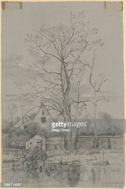 Two rural gabled houses in a garden behind Lattenhägen in front of a pond with ducks and an almost leafless tree next to a slender trunk chalk and...