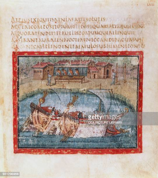Two sailing ships miniature from the Aeneid by Virgil from Vergilius romanus Latin Vatican Codex 3867 5th century