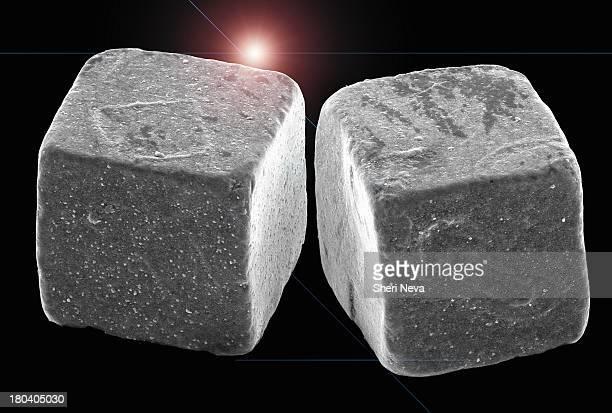 two salt crystals, sem - microscopia eletrônica de varredura - fotografias e filmes do acervo