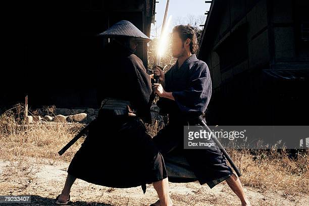 Two Samurai warriors fighting