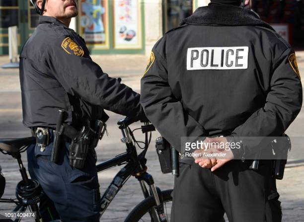 Two San Antonio Park Police officers patrol the area surrounding The Alamo in downtown San Antonio Texas