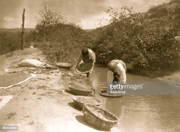 Two San Juan Indians dipping baskets of wheat into an acequia or irrigation ditch to dissolve dirt and to float away debris from the wheat kernels