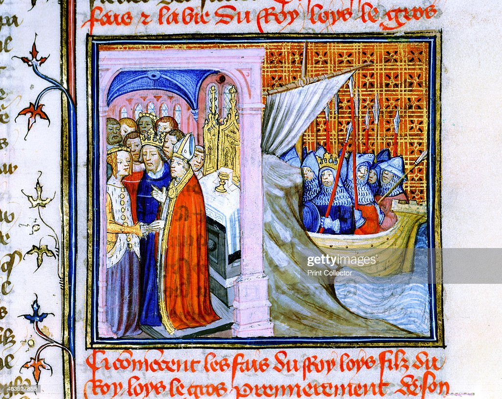 Two scenes from the Chronique de St Denis, late 14th century. : News Photo