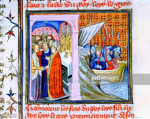 Two scenes from the Chronique de St Denis late 14th century The lefthand scene depicts the Marriage of Eleanor of Aquitaine and Louis VII of France...