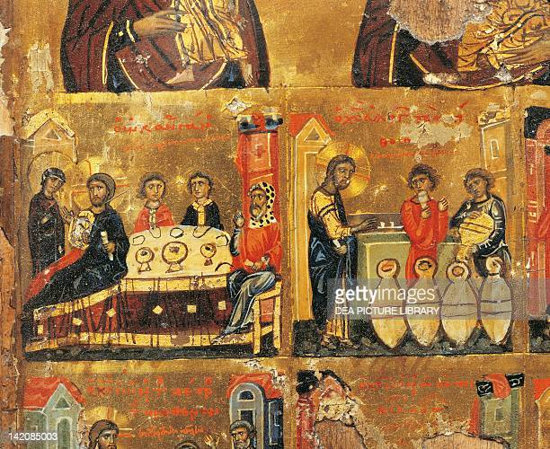 Two scenes from the wedding of Cana from The Mother of God and Scenes from the Passion of Christ Byzantine panel 12th Century detail