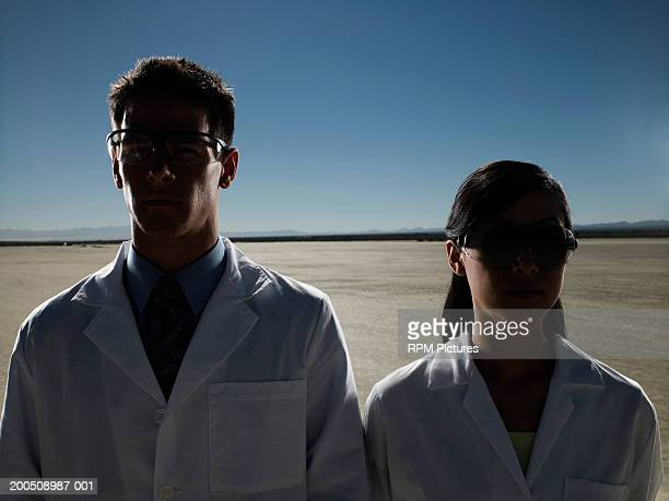 Two scientists in desert
