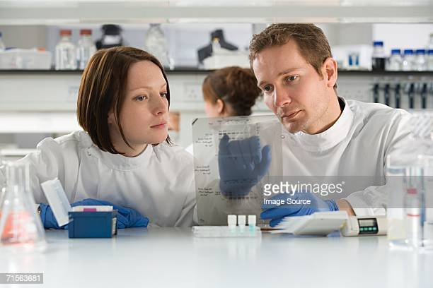 Two scientists looking at DNA