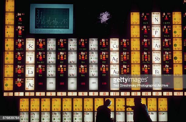 Two scientists use a massive illuminated periodic table of elements as they discuss the element holmium in the Lawrence Hall of Science at the...