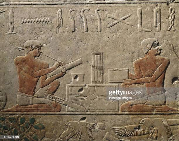 Two Scribes Relief from Mastaba of Akhethotep at Saqqara Old Kingdom 5th Dynasty ca 24942345 BC Found in the Collection of The Egyptian Museum Cairo