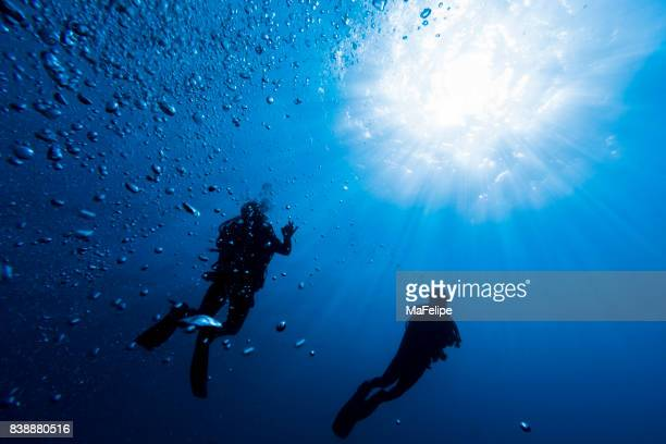 two scuba divers on fernando de noronha against sunburst - diving into water stock photos and pictures