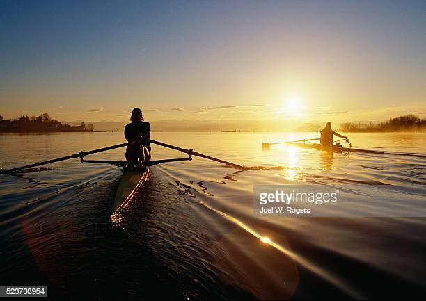 Two Scullers on Calm Lake Washington