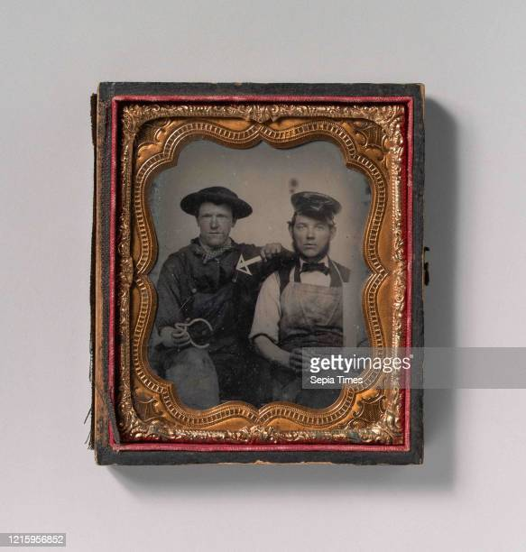 Two Seated Men with Calipers, T-Square, and Compass, 1870s-80s, Tintype, Image: 6.5 x 5.4 cm , Photographs, Unknown .