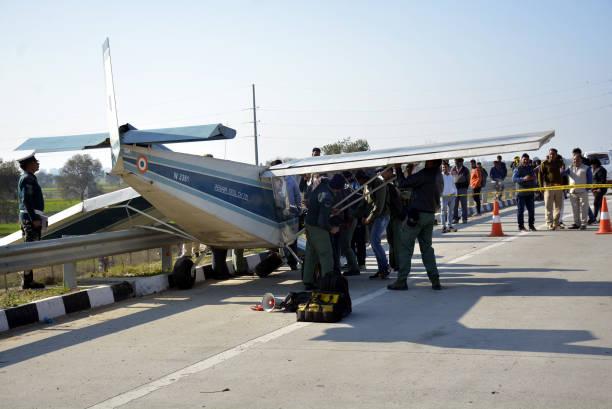 IND: Aircaft Makes Emergency Landing On Highway Near Delhi