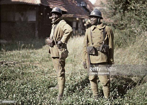 Two Senegalese soldiers serving in the French Army as infantrymen. 22nd June 1917. They are Bambara , a Mandé people living in west Africa....