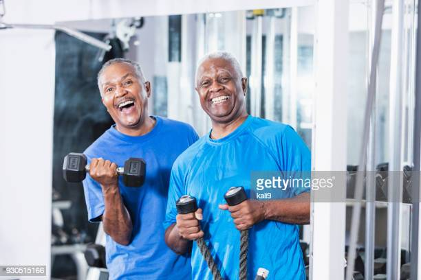 Two senior African-American men at the gym