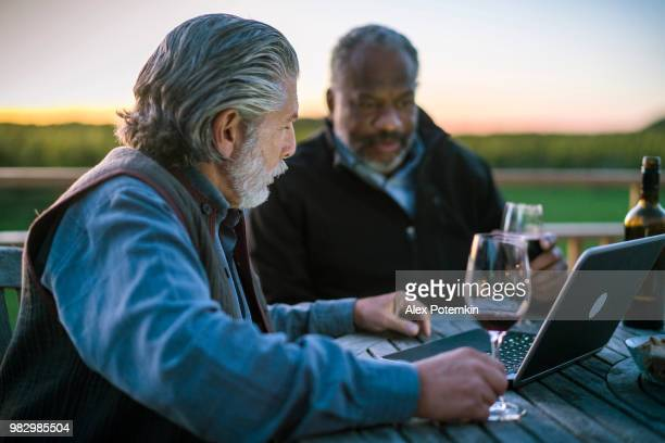 Two senior men, Caucasian White and Black, discussing investments with laptop and drinking the wine at the winery