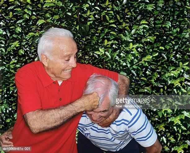 Two senior men rough housing by hedge
