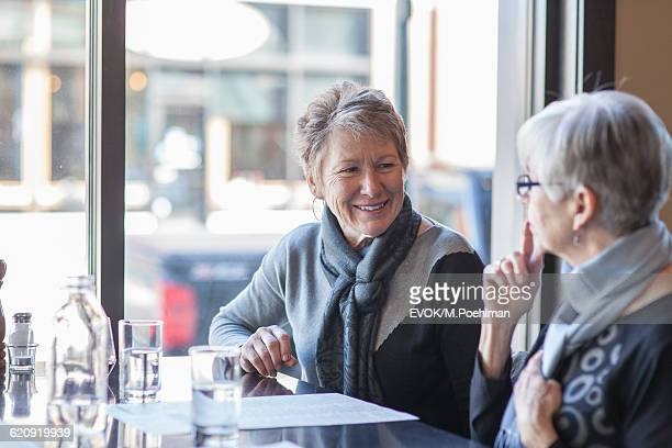 Two Senior women in a restaurant having a discussion