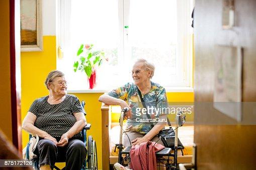 Two Senior Women Relaxing in Retirement Home