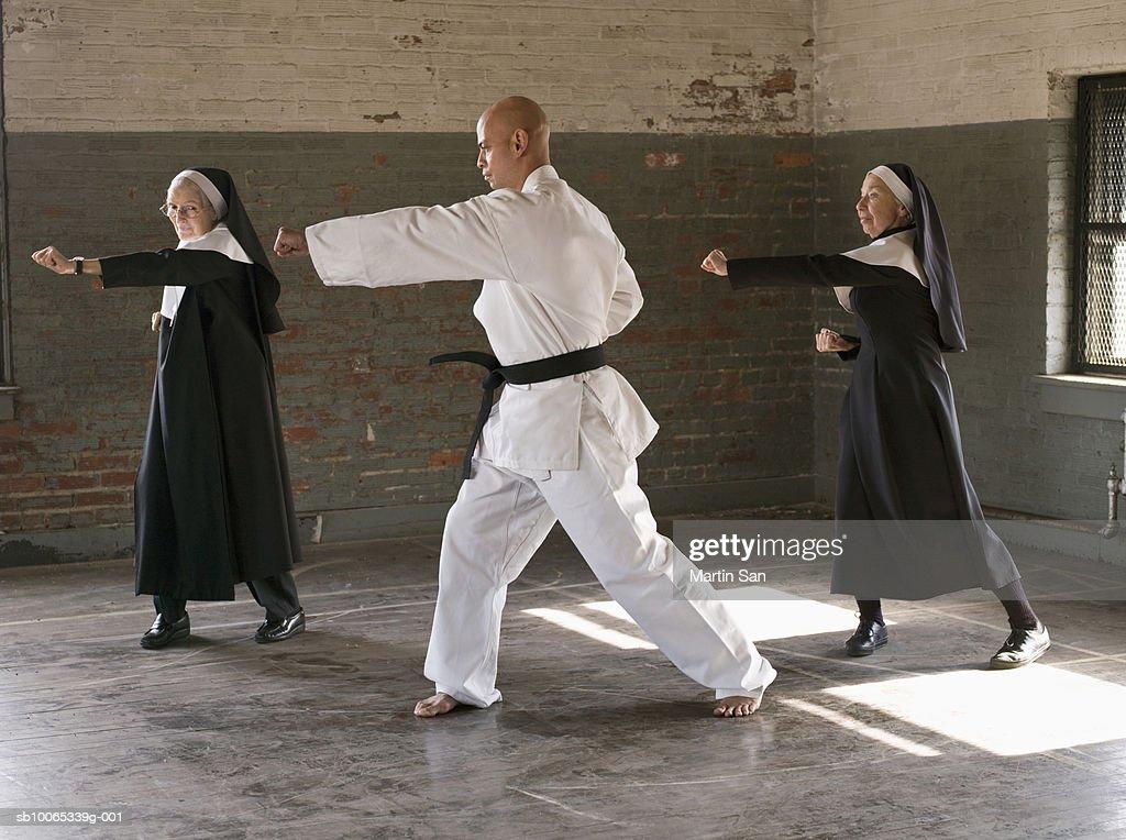 Two senior women with man practicing karate : Foto stock