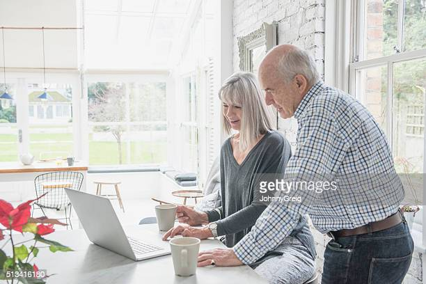 Two seniors using a laptop at home in modern conservatory