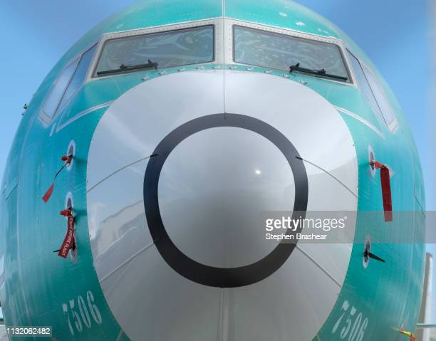 Two sensors both at bottom that measures the angle of attack is pictured on a Boeing 737 MAX 8 airplane outside the company's factory on March 22...