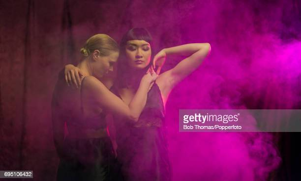 Two sexy young women wearing underwear dancing seductively during a video shoot December 10th 2016 NOTE TO EDITORS picture posed by models fully...
