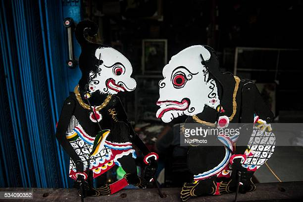 Two shadow puppets in Wukirsari Imogiri Bantul Yogyakarta Indonesia on May 23 2016 Shadow puppets are made of buffalo skin an Indonesian traditional...
