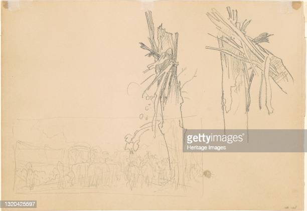 """Two Shattered Trees; and Study for """"The Road"""" [verso], 1918. Artist John Singer Sargent."""