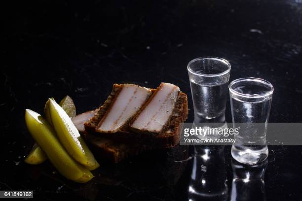 two shots of vodka - vodka stock pictures, royalty-free photos & images